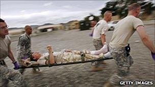 Injured British soldier in Afghanistan