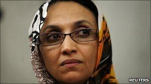 Western Sahara independence campaigner Aminatou Haidar attends a lecture at the University in Lisbon