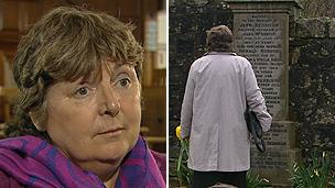 Ann Morris in front of Ronnie's grave