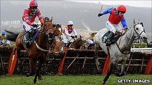 Katie Walsh rides Thousand Stars for Willie Mullins in the Vincent O'Brien County Hurdle at Cheltenham this year