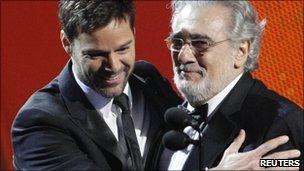 Placido Domingo (r) with Ricky Martin