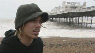 Kite surfer Lewis Crathern on Brighton Beach