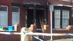 The damaged house