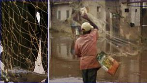 Left: A fish caught in a net by a fisherman on a street in Cotonou; Right: A man fishing in a flooded street in Avotrou, Cotonou