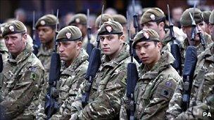 Soldiers attend an Armistice Day service at Chester Cathedral