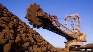 A pile of iron ore in the Pilbara region of West Australia