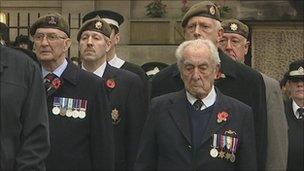 Veterans at Bristol Cenotaph remembrance service