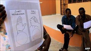 Voting slips for the Sudan referendum