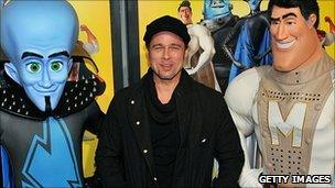 Brad Pitt with Megamind and Metro Man