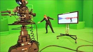 Jeremy Vine in a studio in the election, May 2010