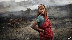 A victim of Delhi slum fire