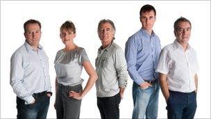 BBC Radio Foyle presenters, Enda McClafferty, Gerry Anderson, Mark Patterson, and Sean Coyle