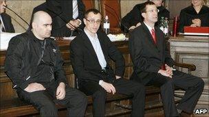 (l to r) Turpal-Ali Yesherkayev, Suleiman Dadayev and Otto Kaltenbrunner