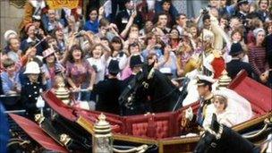 Crowds cheering at Charles and Diana's wedding