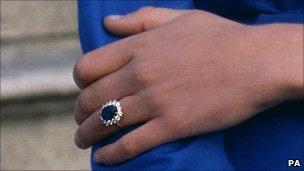 Princess Diana wearing her engagement ring
