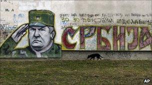 Graffiti depicting Bosnian Serb war crimes suspect Ratko Mladic, in Belgrade, Serbia, 26 October