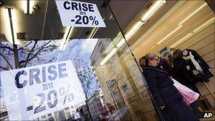 Shop window in Porto's Baixa shopping area (17 Nov 2010)