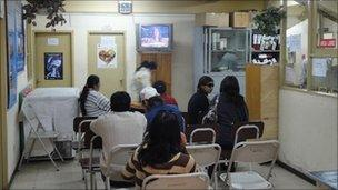 Waiting room at the only HIV/Aids clinic in La Paz