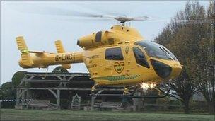 Air ambulance at Nottingham Castle