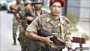 Soldiers patrolling in Antananarivo