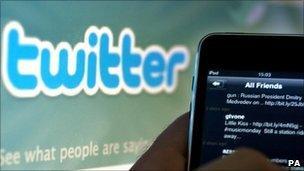 Someone using Twitter