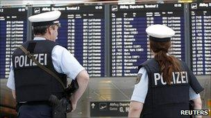 German police officers on patrol at Munich airport