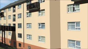 Pen Dinas flats artists' impression