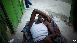 Cholera sufferer in the Cite Soleil slum in Port-au-Prince