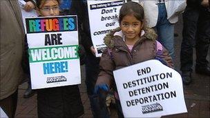 Youngsters on asylum seeker march