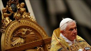 """Pope Benedict XVI leads a consistory in St Peter""""s basilica at The Vatican on November 20, 2010."""