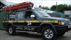RNLI inland lifeboat and 4x4 vehicle