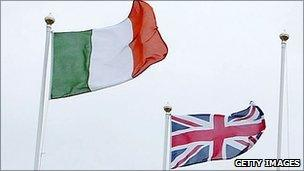 Flags of UK and the Irish Republic