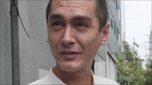 Kim Aris, one of two sons of Burma's pro-democracy leader Aung San Suu Kyi, at the Burmese Embassy in Bangkok