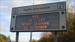 M25 road sign