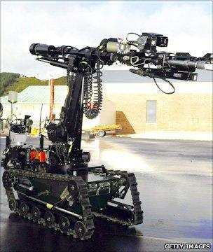 Robot which will be used to explore the mine ahead of a possible rescue effort.
