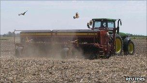 A farmer sows soy in the Pergamino district of Buenos Aires province, October 2010
