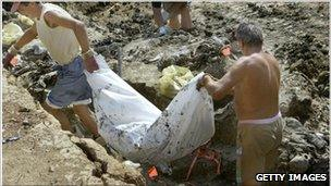 Workers remove human remains from a mass grave near Zvornik in 2003.