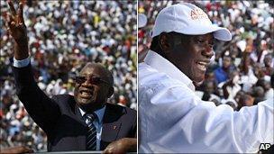 Left: Laurent Gbagbo Right: Alassane Ouattara
