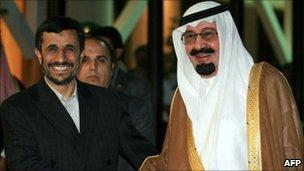 Iranian President Mahmoud Ahmadinejad (left) with Saudi King Abdullah, file pic from 2007