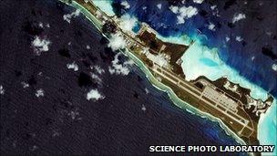 Satellite image of the US naval base at Diego Garcia