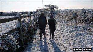 Snow in Cornwall. Pic: Helen Miles