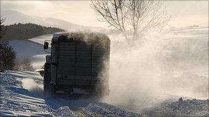 Snow on roads in the Eden Valley