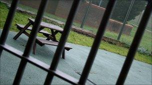 A bench at Feltham Young Offender Institution