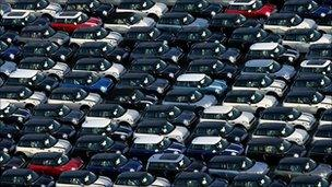 Cars awaiting export from Port of Southampton