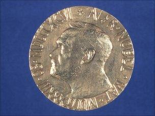 Nobel Peace Prize (front view showing face of Alfred Nobel)