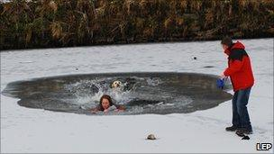 Woman in icy water in Clitheroe