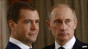 Russian President Dmitry Medvedev (L) and Prime Minister Vladimir Putin (R) - file photo from 2007