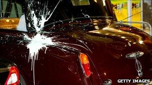 The paint-spattered Rolls-Royce
