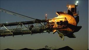 Machine places coal at Rio Tinto's Blair Athol mine in Queensland