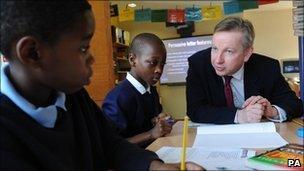 Michael Gove at a school
